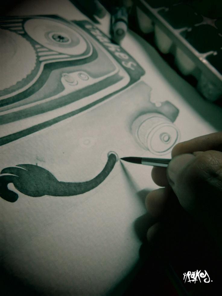 """Flexaret"".    Ilustrando para T-Shirt con Acuarelas."