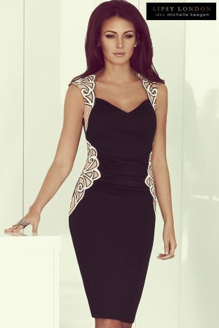Buy Michelle Keegan Mesh Detail Bodycon Dress from the Next UK online shop