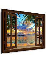 BOIKAL XXL178-8 Optische Täuschung 3D Bild auf Leinwand Fensterblick 40 / 30 cm Braun - Querformat Farbe + Große 21 Variante ! Sonne, Meer, Strand, Steine