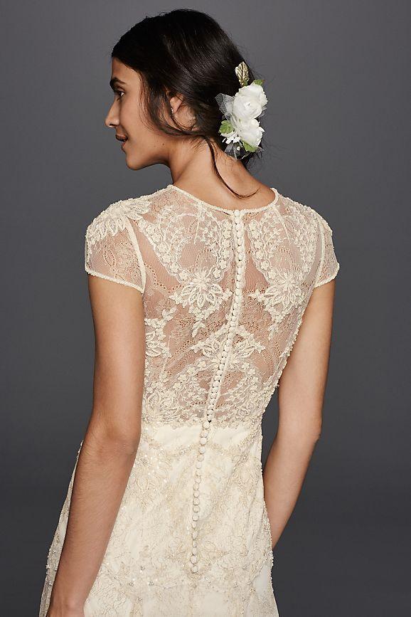 Melissa Sweet Cap Sleeve Illusion Wedding Dress Style Ms251136