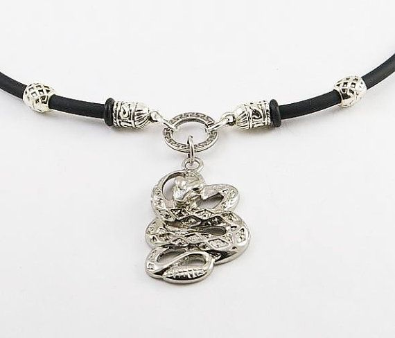 Rattlesnake pendant rubber mens necklace men by CreationsCarden