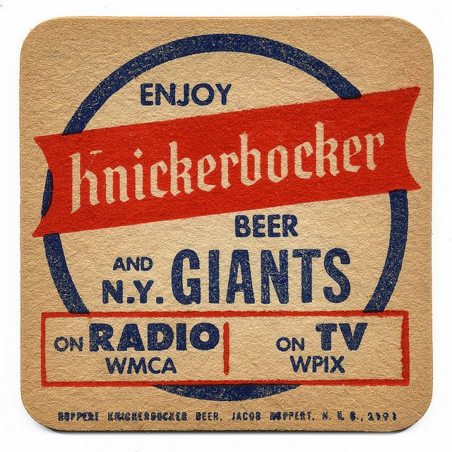 Enjoy Knickerbocker Beer and N.Y. GiantsGmen