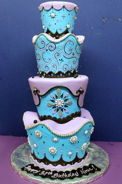 Baby Blue and Lavander Wedding Cake by Alliance Bakery, via Flickr