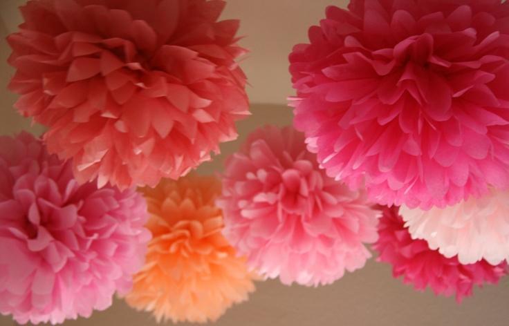 Pink Love .. Tissue Paper Poms / Weddings / Bridal Shower / Baby Shower / Birthday / Party Decoration / DIY - set of 7. $30.00, via Etsy.