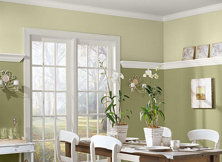 Idées pour Salle à manger Vert - Salle à manger déclinée en deux teintes de vert - Agencement de couleurs de peinture