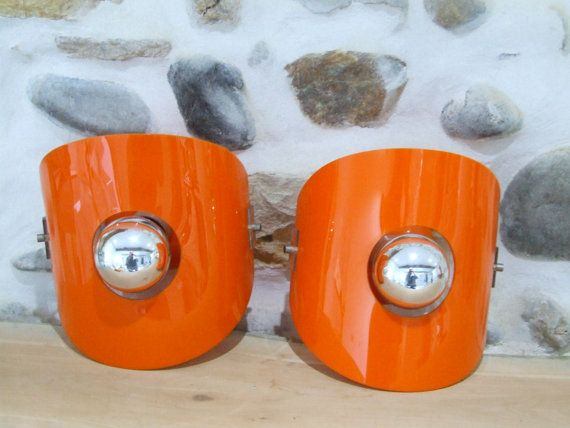 Retro Orange Wall Lights // Retro 1970's by VintageRetroOddities