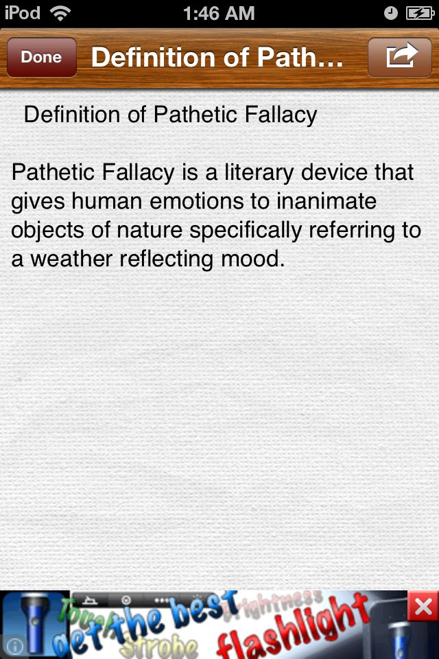 Pathetic Fallacy is a technique for creating atmosphere in a story. Emotions are given to setting, objects and / or weather. This often reflects the main character(s)' mood, or the mood of the book
