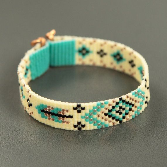Turquoise Feathers Bead Loom Bracelet Bohemian Boho Artisanal Jewelry Indian Western Beaded Tribal Southwestern Turquoise Brown Santa Fe