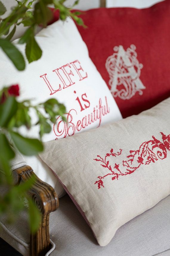 PROVENCE - french country cross stitch pillow,red,pdf pattern,embroidery,needlepoint,french linen, Anette Eriksson Design