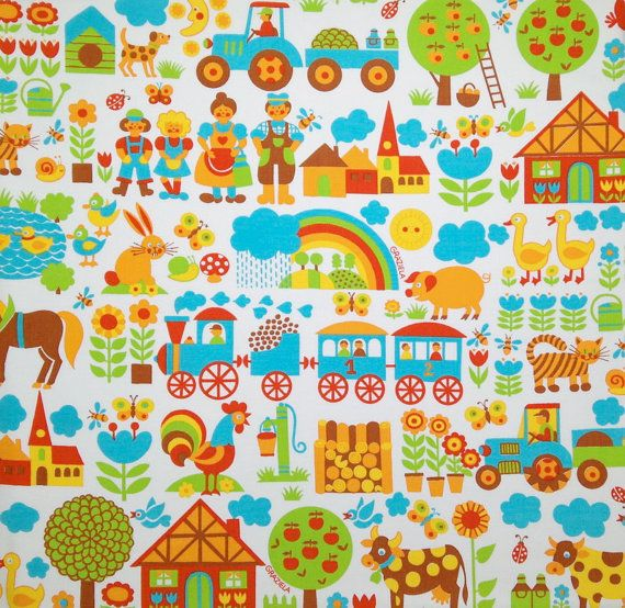 Graziela retro vintage children 39 s fabric by vintage4kids for Kids pattern fabric