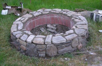 DIY stone fire pit  Material List and Cost  3 60lb bags of concrete for the footing - $10  12 8x8x16 concrete block for footing and base - $12   75 2x3x8 concrete brick to line the pit and top - $20  6 80lb bags of type-S morter - $30  Morter color - already had it. Assume $5.  35 sq feet of stone - already had it. Assume $4 a sq ft (could be more) - $140   3 60lb bags of gravel to fill - $10.
