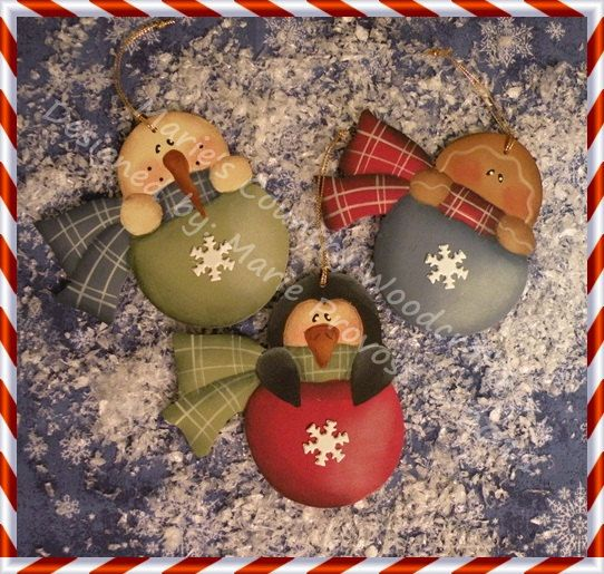 Hand painted wood painting PDF Epattern, snowman, penguin, gingerbread, snowflake, ornament, tree trimmer, Holidays. $6.00, via Etsy.