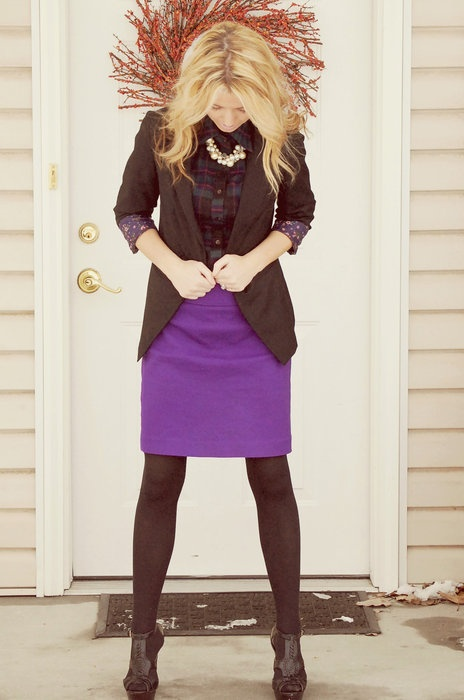 purple pencil skirt! Paired with flannel to make it a little bit more casual, then dressed back up with the chunky pearls.