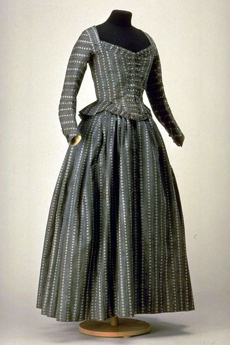 "ephemeral-elegance: "" Woven Half Mourning Dress, ca. 1790-1800  (Did they have mourning attire rules in 1790?  I thought that was more a thing in place once Victoria lost Albert?) """