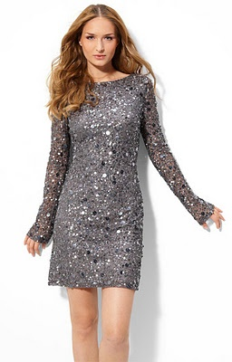 Silver long sleeve cocktail dresses