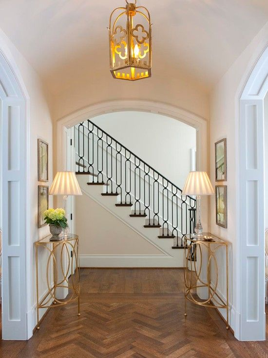 Transitional Foyer | Herringbone Pattern | Wood Flooring