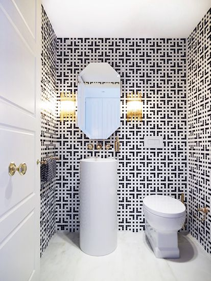Everything You Need To Know About Bathroom Tile // geometric moasicBathroom Design, Greg Natal, Guest Bathroom, Black And White, Half Bath, Interiors Design, Sinks, Tile Pattern, Powder Rooms