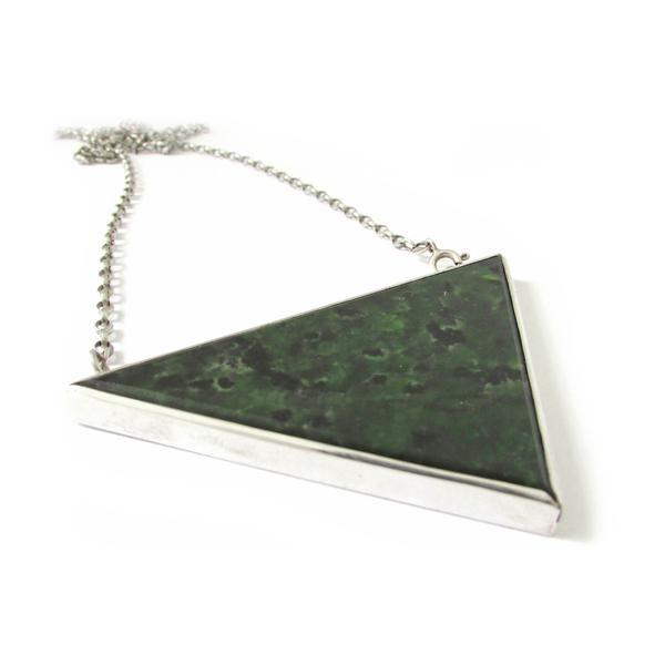 Large Triangle Pendant NZ Pounamu Greenstone + Sterling Silver