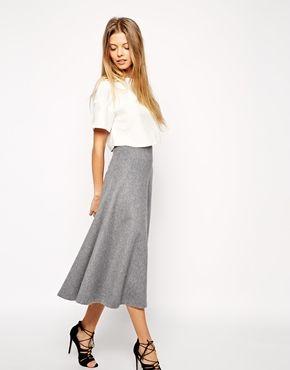 Enlarge ASOS Premium Full A-Line Midi Skirt