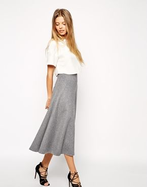 Enlarge ASOS Premium Full A-Line Midi Skirt