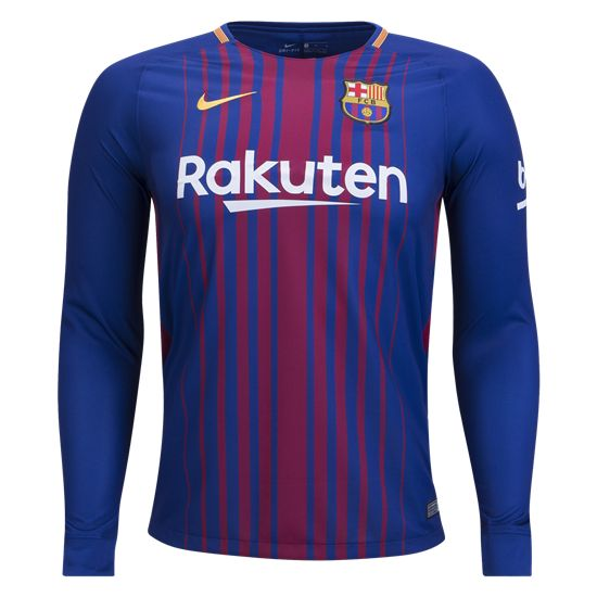 17/18 Barcelona Long Sleeve Home Soccer Jersey