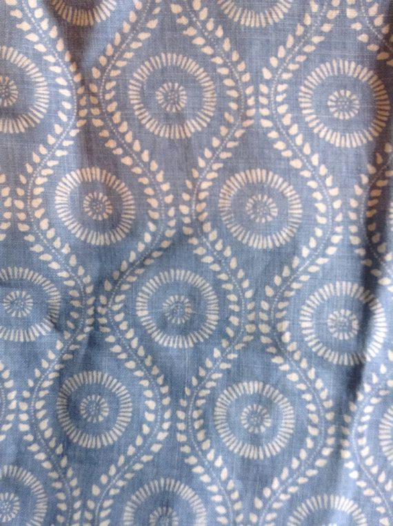 I have a one yard remnant of Raoul Textiles Coverlet pattern in light blue on linen. This gorgeous designer fabric has been used for drapes,