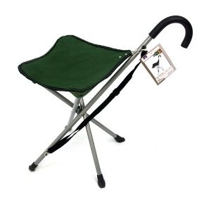 Folding Cane Chair Walking Stick With Tripod Stool