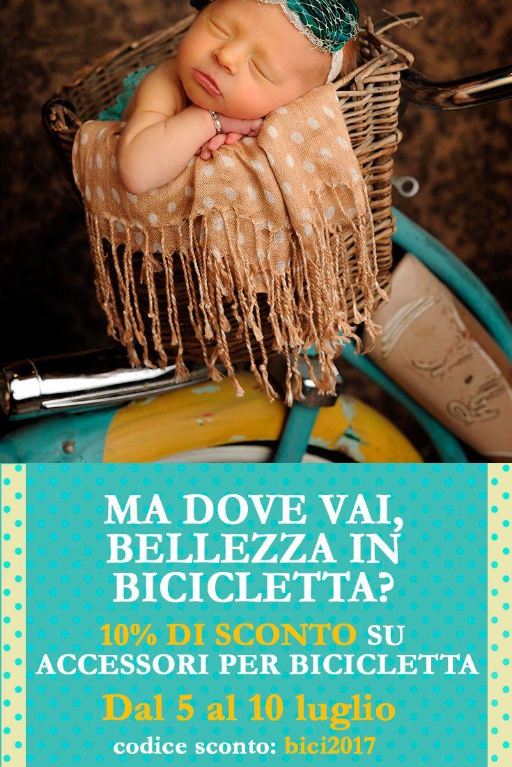 """Dal 5 al 10 Luglio, usa il CODICE SCONTO """"bici2017"""" e hai lo sconto sul prezzo online di seggiolini per #bicicletta da #bambini, caschi e accessori utili per il trasporto dei piccoli in bici con #mamma e #papà!"""