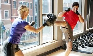 Adult fitness kickboxing uses kicks, punches, and body-weight training to tone muscles in an inclusive, friendly environment