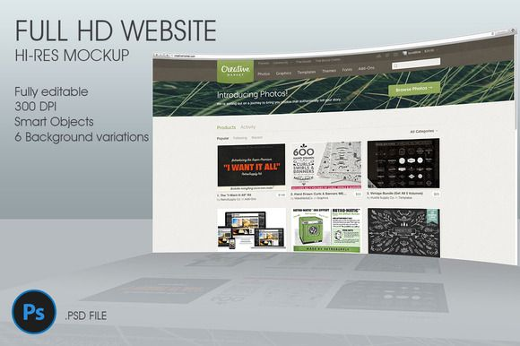 I just released FullHD Website 3D mockup on Creative Market.