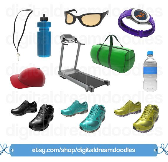 Fitness Running Clipart, Workout Runner Clip Art, Track Field PNG, Gym Shoes Scrapbook, Lanyard Image, Treadmill Graphic, Digital Download