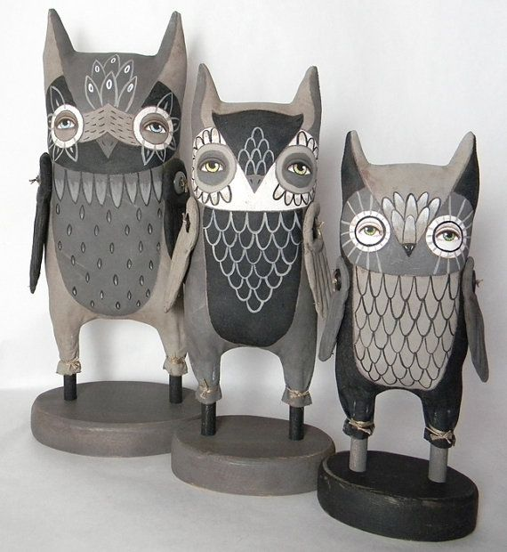 Dark Owl-- Contemporary Folk Art Cloth Doll Sculpture-- Hand Painted Original