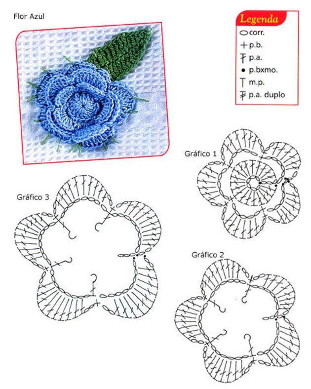 Mejores 703 imágenes de Crochet en Pinterest | Flores de ganchillo ...