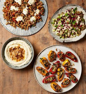 Ottolenghi's sweet and sour farro, burnt aubergine, stuffed baby peppers and skordalia.