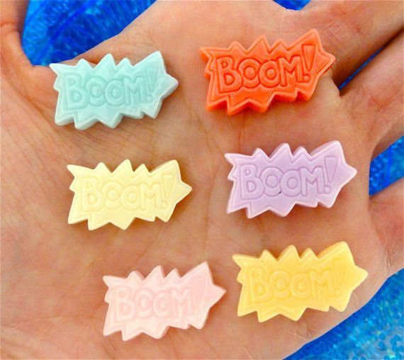 7  Boom Comic Book Resin Flatback Cabochon  by CraftyMissBettie