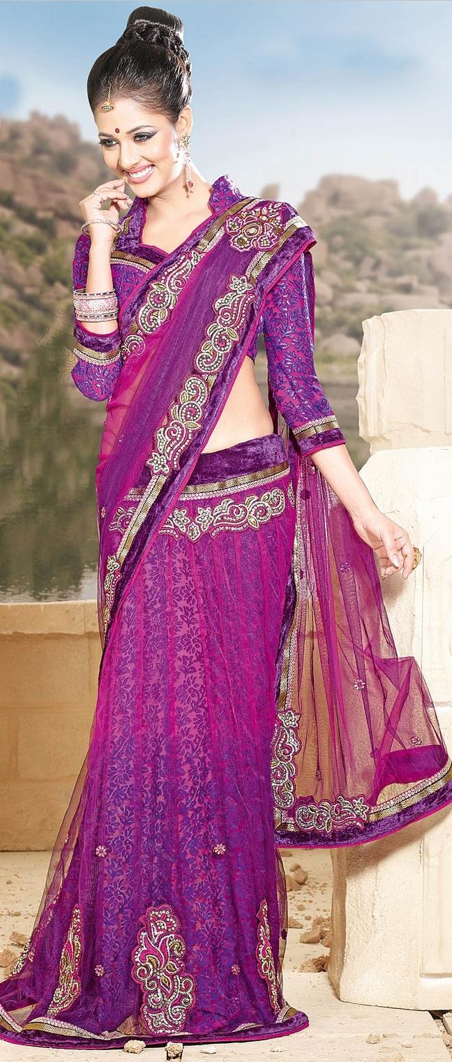 #Magenta and #Purple Net #Lehenga Style #Saree @ $100.66