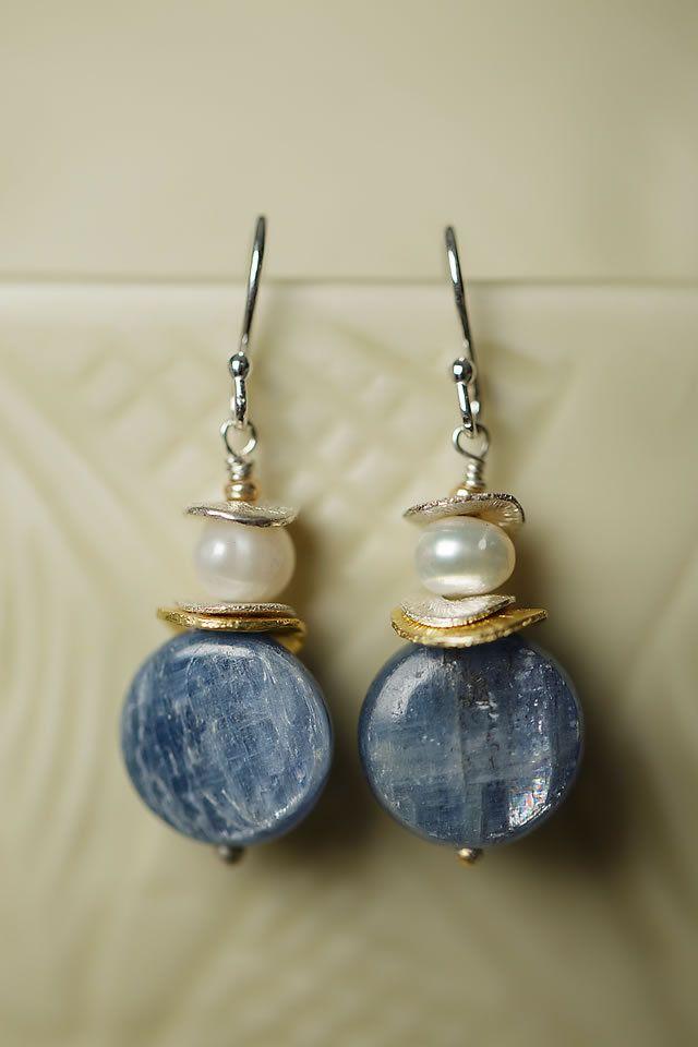 Anne Vaughan Designs - Seaside Pearl Kyanite Focal Earrings, $18.00 (http://www.annevaughandesigns.com/seaside-pearl-gemstone-dangle-silver-earrings-for-women/)