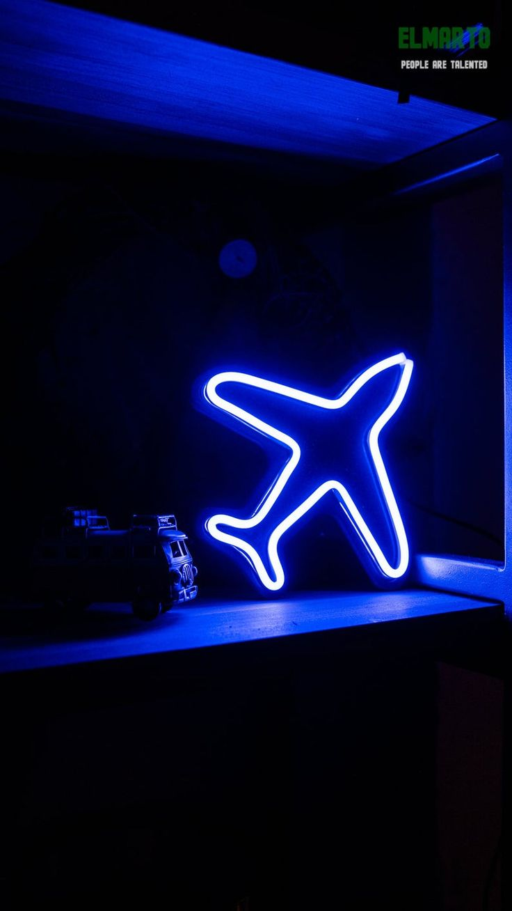 A Little Plane Unbreakable Neon Sign Etsy Blue neon
