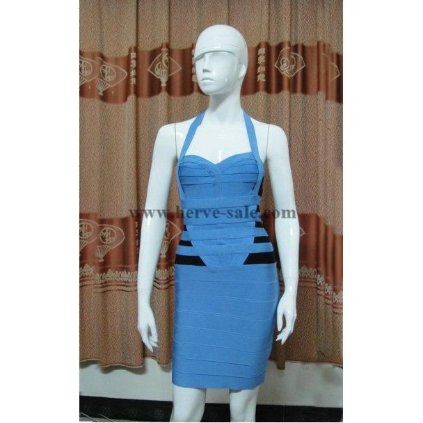 Herve Leger Blue A-line SweatHeart Halter Bandage Dress VL002B