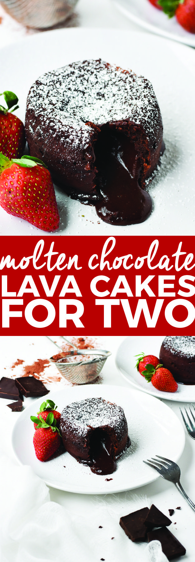 Molten Chocolate Lava Cakes for Two | Valentine's Day desserts, molten lava cakes, chocolate dessert recipes, small portion desserts, easy dessert recipes, homemade desserts || The Butter Half #moltenlavacake #chocolatedessert #easydesserts via @thebutterhalf