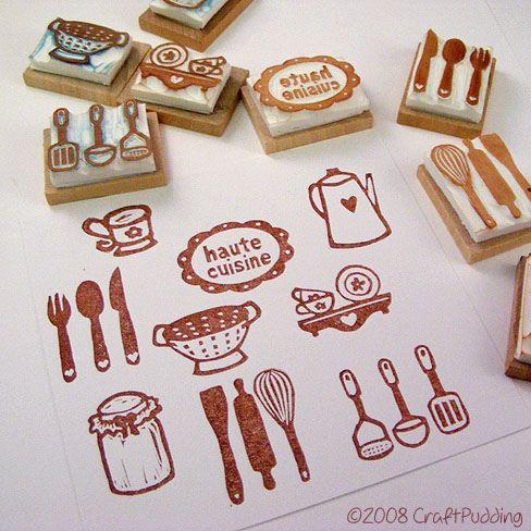 kitchen items - hand carved stamps cocina utencilios tenedor cuchara cuchillo té batidor