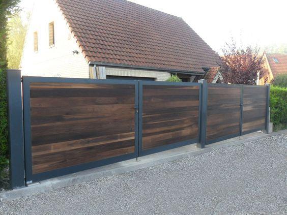 Le portail aluminium et bois Kyro associe parfaitement la résistance de l'aluminium et la finition naturelle du bois. Conçu et fabriqué chez Europortail.: