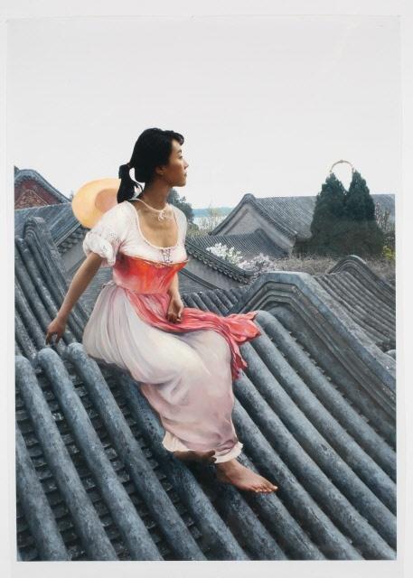 The Costume of Painter - E.D.Blass 080821  2008  oil on vinyl, vinyl on photograph  215 x 154cm