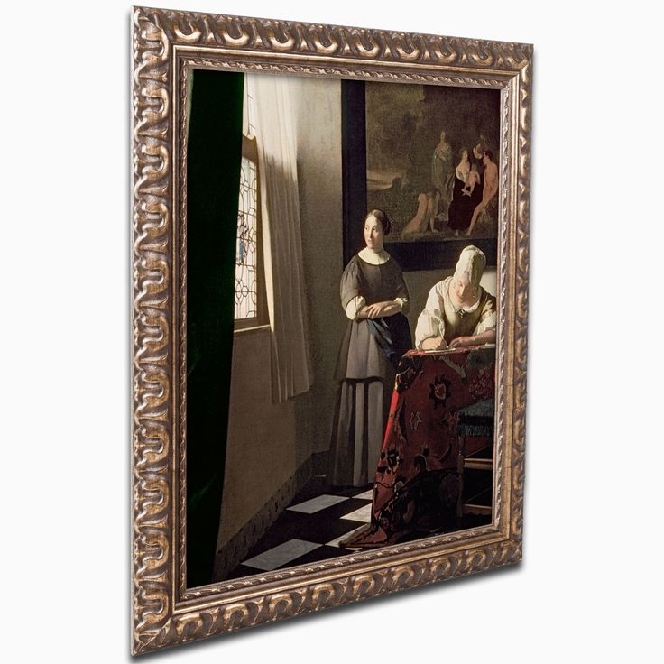 'Lady Writing A Letter' Framed Painting Print On Canvas