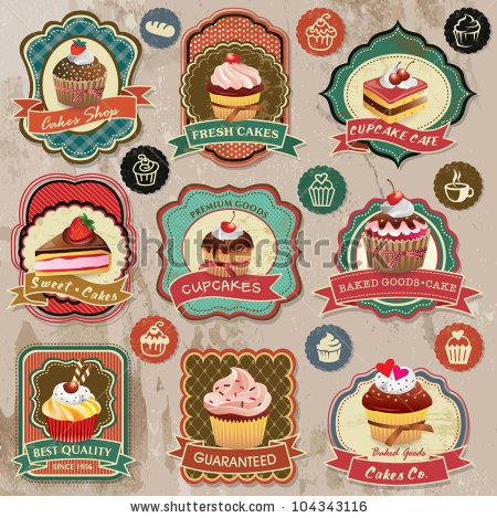 stock vector : Collection of vintage retro various cupcakes labels, badges and icons