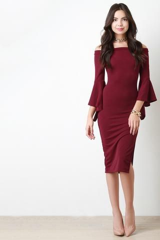 Bell Sleeve Bardot Midi Dress - Beauty & Bronze Clothing and Accessories