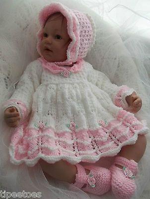 DK Baby - Reborn Knitting Pattern #45 TO KNIT Scalloped Dress, Bonnet & Shoes