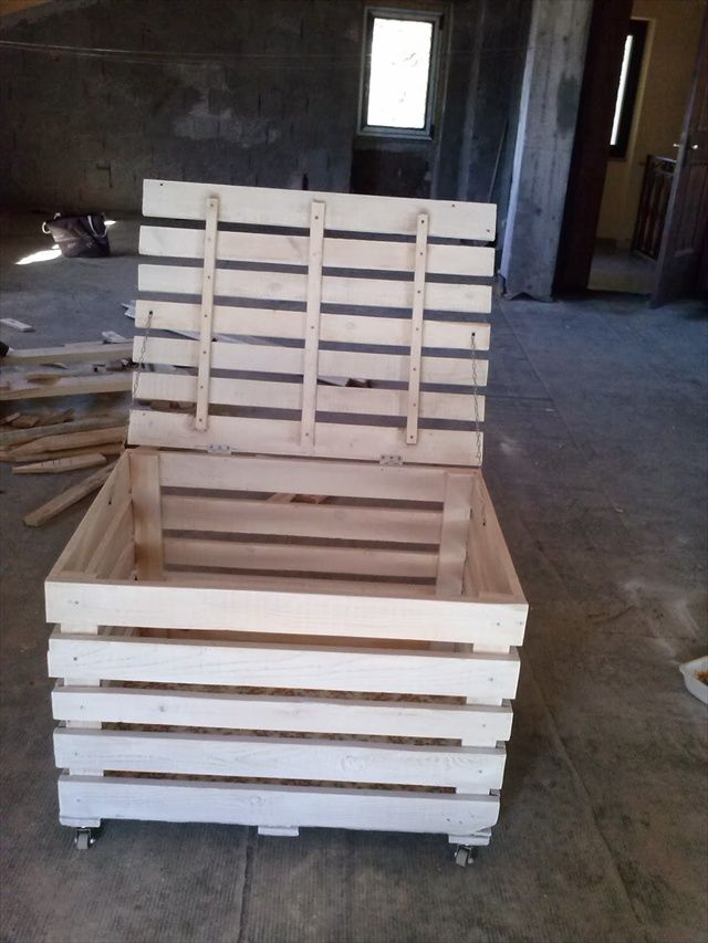 This website has a lot of convertible pallet ideas: DIY Wooden Pallet Storage Box | 101 Pallets