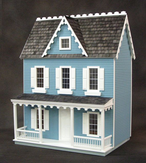 Emily A Vermont Farmhouse Wooden Dollhouse by miniaturerosegarden