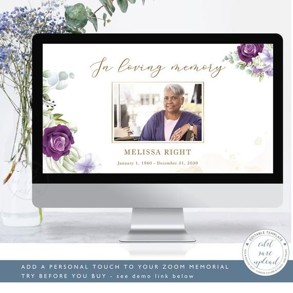 Lavender Virtual Funeral Background Zoom Template For Virtual Memorial Service Editable Zoom Background For Funeral Set Of Two Ff33 Memorial Service Funeral Program Template Funeral